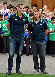 © Licensed to London News Pictures. 10/06/2015. <br /> LONDON, UK. HRH Prince Harry, JONNY WILKINSON (R), WILL GREENWOOD (L) and local school children launch the 100 days to go until the Rugby World Cup 2015 at Twickenham Stadium with the Web Ellis Cup, London, Wednesday 10 June 2015. Photo credit : Hannah McKay/LNP