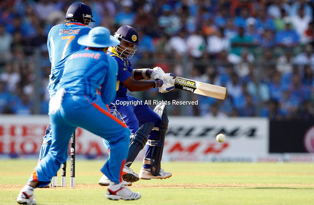 02.04.2011 Cricket World Cup Final from the Wankhede Stadium in Mumbai. Sri Lanka v India. Mahela Jayawardene of Sri Lanka plays a shot during the final match of the ICC Cricket World Cup between India and Sri Lanka on the 2nd April 2011