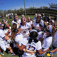Goucher Women's Lacrosse, Towson, 4/16/16 - Goucher Women's Lacrosse get pumped up prior to their match with Moravian. The Gophers went on to victory 14-9 on a beautiful April Saturday afternoon.