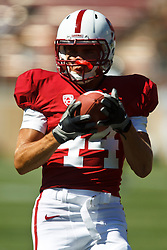 September 4, 2010; Stanford, CA, USA;  Stanford Cardinal wide receiver John Flacco (44) warms up before the game against the Sacramento State Hornets at Stanford Stadium.  Stanford defeated Sacramento State 52-17.