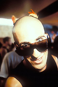 Bald clubber in sunglasses, Ibiza 1999