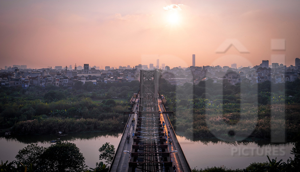 Sunset over Long Bien Bridge, Hanoi, Vietnam, Southeast Asia