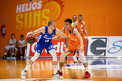 Miha Vasl of KK Rogaska and Nejc Klavzar of KK Helios Suns during basketball match between KK Helios Suns and KK Rogaska in ABA League Second division, on October 31, 2018 in Sports hall Domzale, Domzale, Slovenia. Photo by Urban Urbanc / Sportida