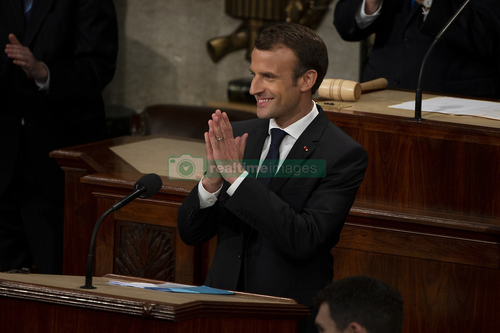April 25, 2018 - Washington, District of Columbia, United States of America - French President Emmanuel Macron delivers a joint address to the United States congress at the United States Capitol in Washington, DC on April 25, 2018. Credit: Alex Edelman / CNP (Credit Image: © Alex Edelman/CNP via ZUMA Wire)