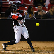 15 February 2018: The San Diego State softball team hosts #25 Kentucky to open up the 28th annual Campbell/Cartier Classic. San Diego State first baseman Taylor Adams (99) hits a single in the bottom of the fourth. The Aztecs lost to the Wildcats 5-0.<br /> More game action at www.sdsuaztecphotos.com