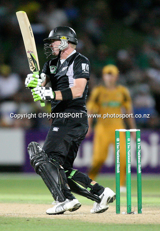 Scott Styris plays a shot. New Zealand Black Caps v Australia. 1st ODI, Chappell-Hadlee Trophy Series. McLean Park, Napier. Wednesday 03 March 2010  Photo: John Cowpland/PHOTOSPORT