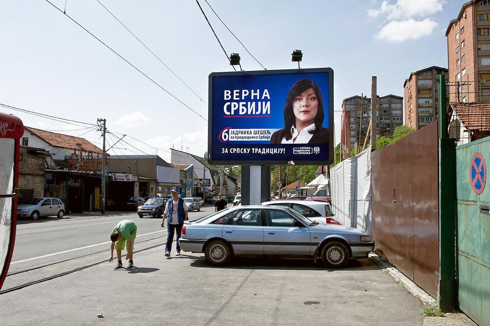 Particolare della campagna elettorale delle ultime elezioni nella periferia di Belgrado, Serbia, 2012