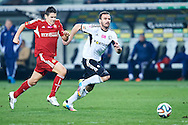 (R) Legia's Orlando Sa fights for the ball with (L) Wisla's Mariusz Stepinski during T-Mobile ExtraLeague soccer match between Legia Warsaw and Wisla Krakow in Warsaw, Poland.<br /> <br /> Poland, Warsaw, March 15, 2015<br /> <br /> Picture also available in RAW (NEF) or TIFF format on special request.<br /> <br /> For editorial use only. Any commercial or promotional use requires permission.<br /> <br /> Mandatory credit:<br /> Photo by © Adam Nurkiewicz / Mediasport