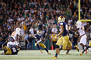 SOUTH BEND, IN - SEPTEMBER 5: Malik Zaire #8 of the Notre Dame Fighting Irish looks to pass during a game against the Texas Longhorns at Notre Dame Stadium on September 5, 2015 in South Bend, Indiana. Notre Dame defeated Texas 38-3. (Photo by Joe Robbins)