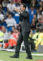 23.05.2015, Estadio Santiago Bernabeu, Madrid, ESP, Primera Division, Real Madrid vs FC Getafe, 38. Runde, im Bild Getafe's coach Pablo Franco // during the Spanish Primera Division 38th round match between Real Madrid CF and Getafe FCat the Estadio Santiago Bernabeu in Madrid, Spain on 2015/05/23. EXPA Pictures &copy; 2015, PhotoCredit: EXPA/ Alterphotos/ Acero<br /> <br /> *****ATTENTION - OUT of ESP, SUI*****