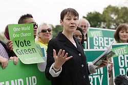 © Licensed to London News Pictures. 11/05/2017. LONDON, UK. CAROLINE LUCAS, Green Party co-leader  at the Green Party Environment Manifesto launch at Woodberry Wetlands in north London.  Photo credit: Vickie Flores/LNP