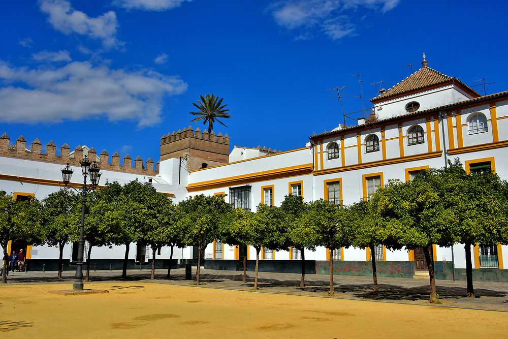 Patio de Banderas Next to Real Alc&aacute;zar in Seville, Spain<br /> After touring Real Alc&aacute;zar, most tourists are chattering with excitement about their experience and don&rsquo;t notice much as they walk through Patio de Banderas. Yet it is also rich with history. This square was a Muslim fortress, a 10th century palace and an 18th century armory. It is also called the Courtyard of Flags because of its tradition of receiving kings to the Real Alc&aacute;zar. Now it is a walkway back to Plaza del Triunfo. On the way, enjoy the marvelous view of La Giralda.
