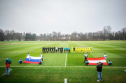 Teams listening to the National anthems prior to the friendly football match between NK Fantazisti (SLO) and 1st TFC - First Tennis & Football Club (AUT) presented by professional and former tennis players, on November 25, 2017 in Nacionalni nogometni center Brdo pri Kranju, Slovenia. Photo by Vid Ponikvar / Sportida