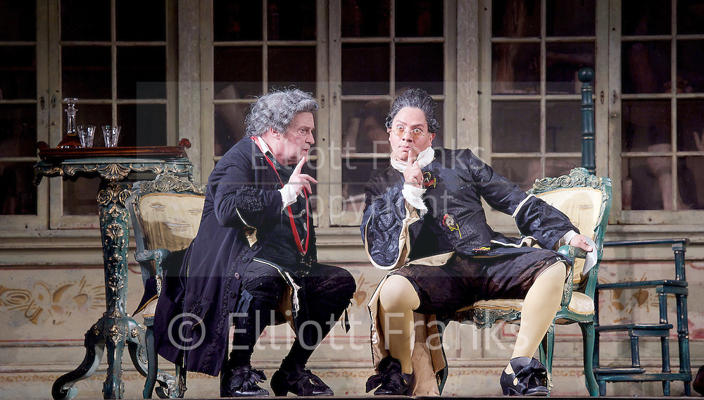 The Barber of Seville <br /> by Rossini <br /> English National Opera, London Coliseum, London, Great Britain <br /> Rehearsal <br /> 25th September 2015 <br /> <br /> <br /> Andrew Shore as Doctor Bartolo <br /> Eleazar Rodriguez as Count Almaviva <br /> <br /> <br /> Photograph by Elliott Franks <br /> Image licensed to Elliott Franks Photography Services