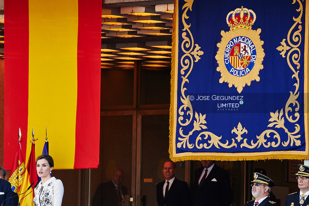 Queen Letizia of Spain attend the delivery ceremony of the Spanish flag to Spanish Police on November 10, 2015 in Avila, Spain.