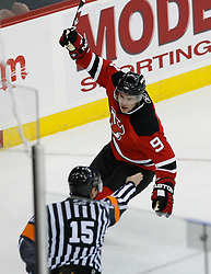 Feb 28, 2009; Newark, NJ, USA; New Jersey Devils left wing Zach Parise (9) celebrates his goal during the first period at the Prudential Center.