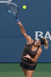 July 27, 2011; Stanford, CA, USA;  Maria Sharapova (RUS) serves the ball against Daniela Hantuchova (SVK), not pictured, during the second round of the Bank of the West Classic women's tennis tournament at the Taube Family Tennis Stadium.