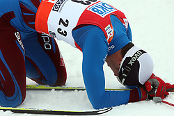Cyril Miranda of France exhausted at Men`s Sprint Free B Finals Cross-country race at  FIS Nordic World Ski Championships Liberec 2008, on February 24, 2009, Vestec, Liberec, Czech Republic. (Photo by Vid Ponikvar / Sportida)