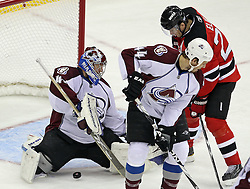 Oct 15; Newark, NJ, USA; Colorado Avalanche goalie Craig Anderson (41) makes a save on New Jersey Devils left wing Patrik Elias (26) during the third period at the Prudential Center. The Avalanche defeated the Devils 3-2.