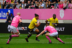 April 7, 2018 - Paris, France - Clermont Centre WESLEY FOFANA in action during the French rugby championship Top 14 match between Stade Francais and Clermont at Jean Bouin Stadium in Paris - France..Stade Francais won 50-13 (Credit Image: © Pierre Stevenin via ZUMA Wire)