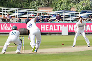 Colin Ackemann bowling to Alex Lees during the Specsavers County Champ Div 2 match between Durham County Cricket Club and Leicestershire County Cricket Club at the Emirates Durham ICG Ground, Chester-le-Street, United Kingdom on 18 August 2019.