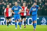 ROTTERDAM - 03-03-2016, Feyenoord - AZ, stadion de Kuip, 3-1, AZ speler Ron Vlaar, AZ speler Ben Rienstra, Feyenoord speler Rick Karsdorp, teleurstelling.