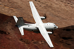 Alenia C-27J Spartan from the Italian Air Force (side 46-88, registration MM62223) flies low level on the Jedi Transition through Star Wars Canyon / Rainbow Canyon, Death Valley National Park, Panamint Springs, California, United States of America