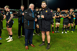 Exeter Chiefs CEO Tony Rowe OBE presents Luke Cowan-Dickie of Exeter Chiefs with his Centurion award after making his 100th Appearance for Exeter Chiefs during their win over Saracens - Mandatory by-line: Ryan Hiscott/JMP - 29/12/2019 - RUGBY - Sandy Park - Exeter, England - Exeter Chiefs v Saracens - Gallagher Premiership Rugby