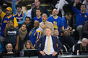 Golden State Warriors head coach Steve Kerr watches as his Golden State Warriors take on the Cleveland Cavaliers at Oracle Arena in Oakland, Calif., on January 16, 2017. (Stan Olszewski/Special to S.F. Examiner)