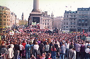 Protestors at the First Criminal Justice March. Trafalgar Square, London, UK, First of May 1994.