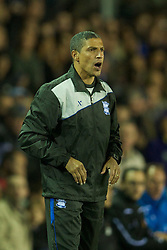 BIRMINGHAM, ENGLAND - Thursday, November 3, 2011: Birmingham City's manager Chris Hughton during the UEFA Europa League Group H match against Club Brugge at St. Andrews. (Pic by David Rawcliffe/Propaganda)