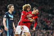 Zlatan Ibrahimovic Forward of Manchester United is congratulated by Marouane Fellaini Midfielder of Manchester United but goal is disallowed during the Premier League match between Manchester United and Middlesbrough at Old Trafford, Manchester, England on 31 December 2016. Photo by Phil Duncan.