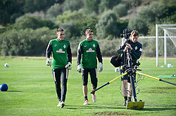 11.01.2014, Trainingsplatz, Jerez de la Frontera, ESP, 1. FBL, SV Werder Bremen, Trainingslager, im Bild von links, Raphael Wolf (SV Werder Bremen #20), Sebastian Mielitz (SV Werder Bremen #1), Peer Jaekel (Co-Trainer, Videoanalyst SV Werder Bremen) // von links, Raphael Wolf (SV Werder Bremen #20), Sebastian Mielitz (SV Werder Bremen #1), Peer Jaekel (Co-Trainer, Videoanalyst SV Werder Bremen) during Trainingsession of German Bundesliga Club SV Werder Bremen at Trainingsplatz in Jerez de la Frontera, Spain on 2014/01/11. EXPA Pictures © 2014, PhotoCredit: EXPA/ Andreas Gumz<br /> <br /> *****ATTENTION - OUT of GER*****