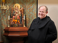 Fr. Bede Price, OSB and Our Lady of Walsingham at the Oratory of Ss. Gregory and Augustine. <br /> Photo by Lisa Johnston