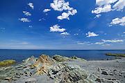 Rocky shoreline and Atlantic Ocean<br /> La Martre<br /> Quebec<br /> Canada