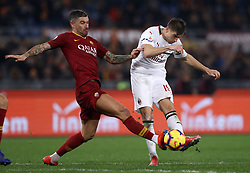 February 3, 2019 - Rome, Italy - AS Roma v AC Milan - Serie A.Aleksandar Kolarov of Roma tackling on Krzysztof Piatek of Milan at Olimpico Stadium in Rome, Italy on February 3, 2018. (Credit Image: © Matteo Ciambelli/NurPhoto via ZUMA Press)