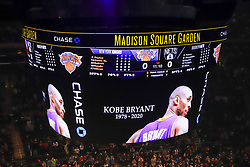 January 26, 2020, New York, New York, USA: A moment of silence is held for NBA Legend, Kobe Braynt before the game between the New York Knicks and the Brooklyn Nets on January 26, 2020 at Madison Square Garden in New York City (Credit Image: © Vanessa Carvalho/ZUMA Wire)