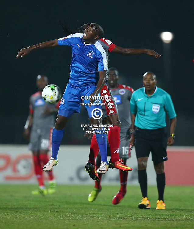 Tumelo Mogapi of Maritzburg Utd  let the ball go during the 2016 Premier Soccer League match between Maritzburg Utd and SuperSport United held at the Harry Gwala Stadium in Pietermaritzburg, South Africa on the 21st September 2016<br /> <br /> Photo by:   Steve Haag / Real Time Images