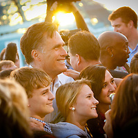 TAMPA, FL -- November 29, 2011 -- Republican Presidential candidate Gov. Mitt Romney greets supporters after speaking at the Port of Tampa during a campaign stop in Tampa, Fla., on Tuesday, November 29, 2011.  (PHOTO / CHIP LITHERLAND)