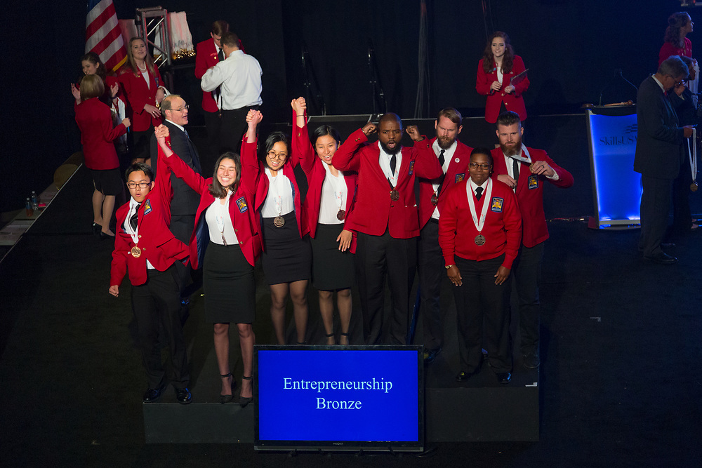 The 2017 SkillsUSA National Leadership and Skills Conference Competition Medalists were announced Friday, June 23, 2017 at Freedom Hall in Louisville. <br /> <br /> Entrepreneurship<br /> <br /> Team O (consisting of Geoff Zdgiebloski, Nicholas Walton, Noah Williams, William Huffman)<br />   High School Appomattox County High School<br />   Gold Appomattox, VA<br /> EntrepreneurshipTeam J (consisting of Enoc Romero, Ashley Smith, Colby Bringas, Jadely Thao)<br />   High School Bayshore High School<br />   Silver Bradenton, FL<br /> EntrepreneurshipTeam M (consisting of Danielle Choy, Hayley Villapudua, Natalie X Deng, Brandon Lee)<br />   High School South Pasadena High School<br />   Bronze South Pasadena, CA<br /> EntrepreneurshipTeam B (consisting of Shavonne Williams, Betty Colman, Peterson Lissaint, Jalisa Wright)<br />   College Orange Technical College - Orlando Campus<br />   Gold Orlando, FL<br /> EntrepreneurshipTeam C (consisting of Grace McDougall, Melissa Mooney, Vanessa Sharp, Sierra Tuttle)<br />   College Catawba Valley Community College<br />   Silver Hickory, NC<br /> EntrepreneurshipTeam A (consisting of Theophile Brown-Tuyishimire, Jonathan Hall, Brittany Williams, Benjamin Vaughn)<br />   College Savannah Technical College<br />   Bronze Savannah, GA