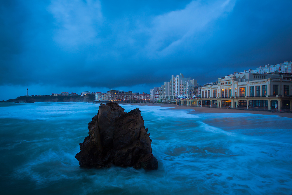 "Atlantic waves lash the resort town of Biarritz, in the Basque region of France. This mage can be licensed via Millennium Images. Contact me for more details, or email mail@milim.com For prints, contact me, or click ""add to cart"" to some standard print options."