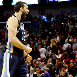 Dec 5, 2016; New Orleans, LA, USA; Memphis Grizzlies center Marc Gasol (33) reacts after hitting a three pointer in the final seconds of the fourth quarter of a game against the New Orleans Pelicans at the Smoothie King Center. The Grizzlies defeated the Pelicans 110-108 in double overtime.  Mandatory Credit: Derick E. Hingle-USA TODAY Sports