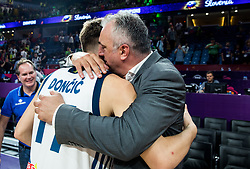 Luka Doncic of Slovenia with his father Sasa Doncic celebrating at Trophy ceremony after winning during the Final basketball match between National Teams  Slovenia and Serbia at Day 18 of the FIBA EuroBasket 2017 when Slovenia became European Champions 2017, at Sinan Erdem Dome in Istanbul, Turkey on September 17, 2017. Photo by Vid Ponikvar / Sportida