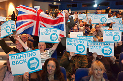 © Licensed to London News Pictures. 13/04/2019. Birmingham, West Midlands, UK. The newly formed Eurosceptic pro-brexit, Brexit Party - launched yesterday 12th April 2019 in Coventry, UK. - hold the official launch rally of The Brexit Party at the International Convention Centre (ICC) in Birmingham, UK. The Brexit Party was founded by former UKIP economics spokeswoman, Catherine Blaiklock in January 2019 to support Brexit, which was the majority 'Leave' vote in the 'Leave or Remain' referendum of 23rd June 2016.<br /> Brexit Party members point out that the UK prime minister, Theresa May, has betrayed her electorate by not keeping her pledge that the UK would leave the European Union on March 29th 2019, the date set by invoking article 50 of the Treaty of Lisbon. This pledge to leave the EU was voiced by May no less than 108 times. The Brexit party's representation consists of nine members of the European Parliament. Photo credit: Graham M. Lawrence/LNP