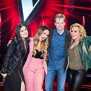 NLD/Hilversum/20180209 - 3e Liveshows The voice of Holland 2018, Nienke Wijnhoven, Demi van Wijngaarden, Jim van der Zee en Samantha Steenwijk