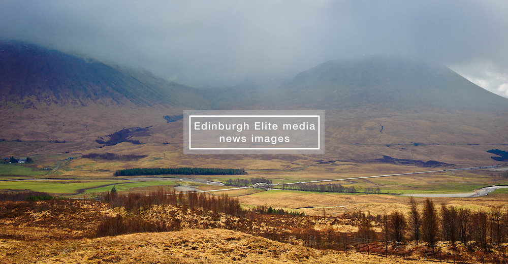 Looking towards Bridge of Orchy in Argyll & Bute, Scotland.  The river Tulla is crossed by the bridge in the middle distance.<br /> <br /> (c) Andrew Wilson | Edinburgh Elite media