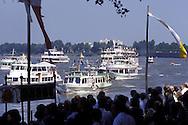 DEU, Germany, Cologne, Corpus Christi ship ..procession Muelheimer Gottestracht on the river Rhine.....DEU, Deutschland, Koeln, Fronleichnams-Schiffsprozession Muelheimer Gottestracht auf dem Rhein.........