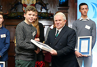 REPRO FREE***PRESS RELEASE NO REPRODUCTION FEE***<br /> Irish Sailing Awards, Royal College of Surgeons, Stephen's Green, Dublin 4/2/2016<br /> National Yacht Club sailor Liam Shanahan was named the 2015 Irish Sailor of the Year today at the Irish Sailing Awards in Dublin - Shanahan had a remarkable year, including victory in the Dun Laoghaire to Dingle race in June on his boat Ruth with two miles to spare.<br /> Kilkenny's Doug Elmes and Malahide's Colin O'Sullivan jointly took home the Irish Sailing Association (ISA) Youth Sailor of the Year award. The Howth Yacht Club sailors were hotly tipped following their recent Bronze medal success at the 2015 Youth World Championships in Malaysia, where they took Ireland's first doublehanded youth worlds medal in 19 years.<br /> The Mitsubishi Motors Sailing Club of the Year award was presented to the Royal Irish Yacht Club in honour of their success at local, national and international level.<br /> Mullingar Sailing Club took home the ISA Training Centre of the Year award, having been nominated as winners of the western-region Training Centre of the Year.<br /> Pictured is Geoff Power, Youth Sailor of the Year nominee, Waterford Harbour Sailing Club, and David Lovegrove, President ISA<br /> Mandatory Credit ©INPHO/Cathal Noonan