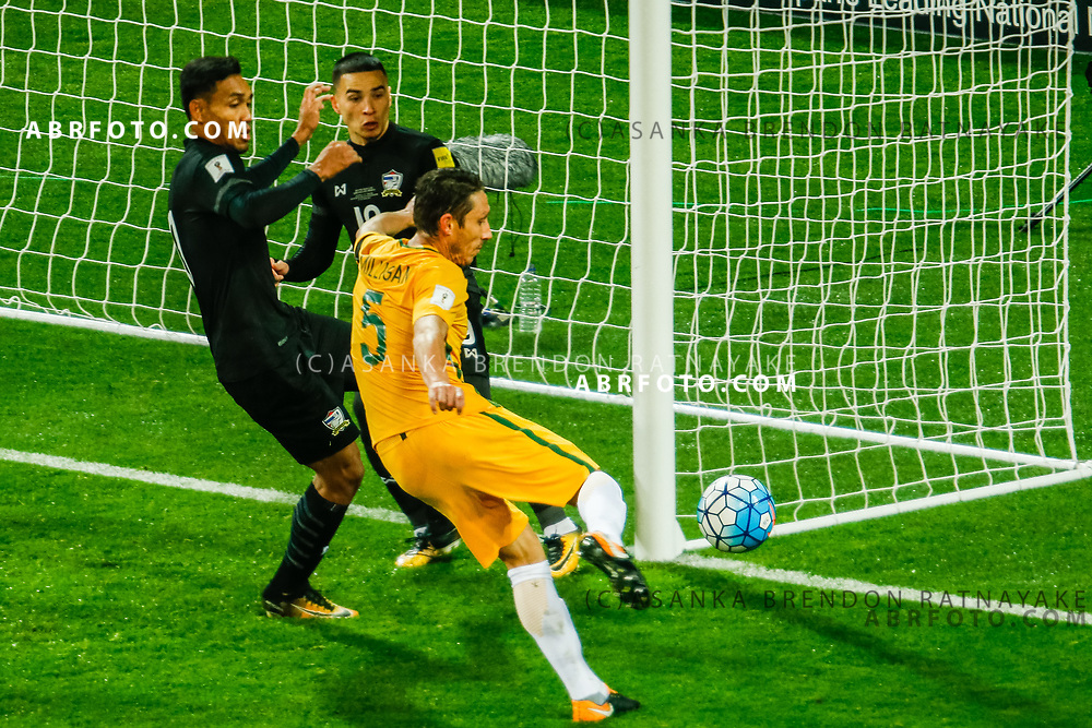 MELBOURNE, AUSTRALIA - SEPTEMBER 5 :  Mark Milligan of the Australia Socceroos has a shot on goal during the Stage 3 Group World Cup Football Qualifiers between Australia Vs Thailand at the Melbourne Rectangular Stadium, Melbourne, Australia 5 September 2017.