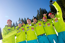 Men Downhill team: Andrej Jerman, Bostjan Kline, Andrej Sporn, Gasper Markic, Andrej Krizaj and Rok Perko during media day of Slovenian Alpine Ski team on October 17, 2011, in Rudno polje, Pokljuka, Slovenia. (Photo by Vid Ponikvar / Sportida)